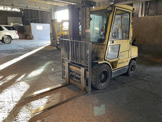 HYSTER H60XM LP Forklift, s/n H177B39374A, 6,000 Lb. Capacity, 3-Stage Mast, Side Shift, Cab