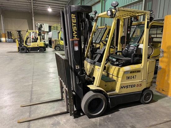HYSTER H55MS LP Forklift, s/n D187V27098Z, 5,000 Lb. Capacity, Quad Mast, Fork Positioner, Cushion