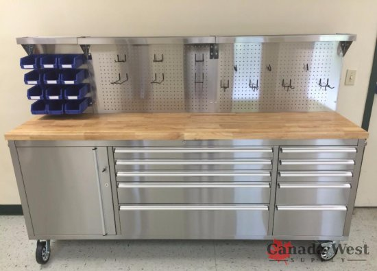 "NEW 11 DRAWER 84"" Stainless Steel Work Station With Stainless Steel Peg Board"