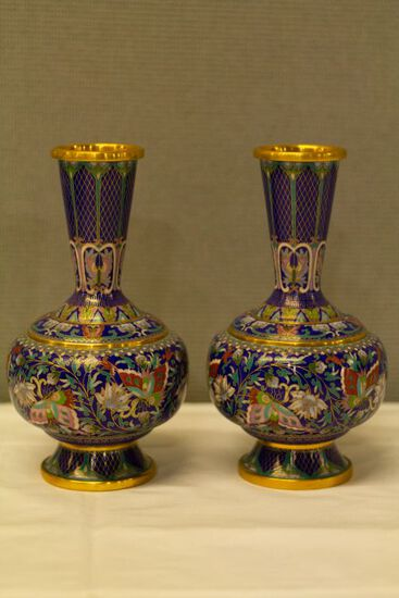 Pair f Cloisenne Vases on Copper