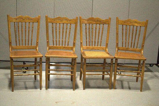 4 Oak Kitchen Chairs Cane Bottom