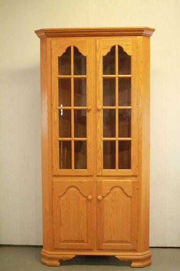 Oak Corner Cabinet With Glass Doors