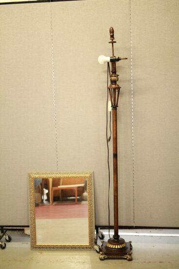 Pole Lamp & Silver Frame Mirror