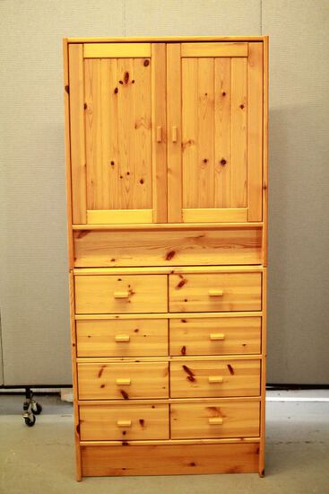 Pine 2 Piece Cabinet with Drawers
