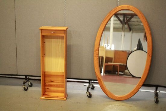 Oval Pine Mirror & Pine Cabinet