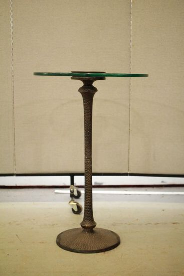 Metal Pedestal Glass Top End Table