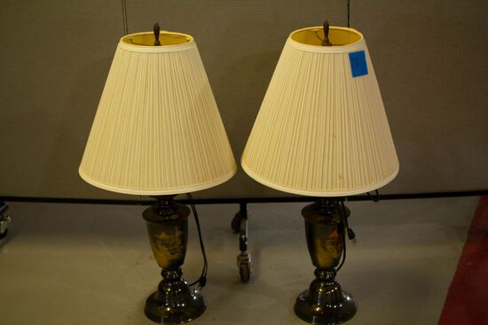 Pair of Metal Oriental Lamps