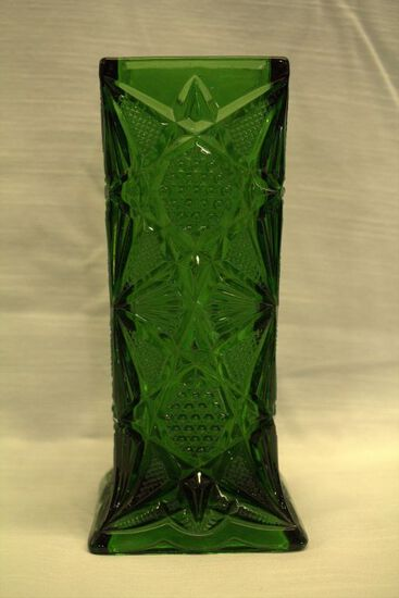 Green Pressed Glass Vase
