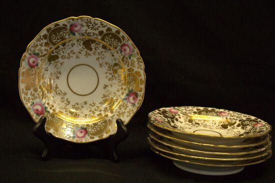 6 Gold Trimmed Porcelain Bowls
