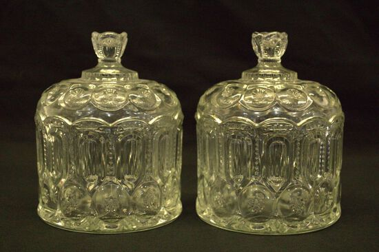 Pair of Pressed Glass Cookie Jars