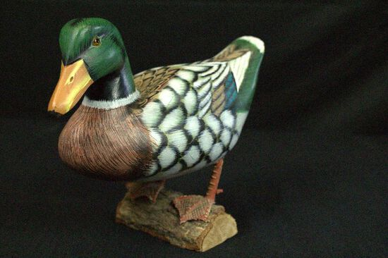 Hand Painted Wooden Mallard