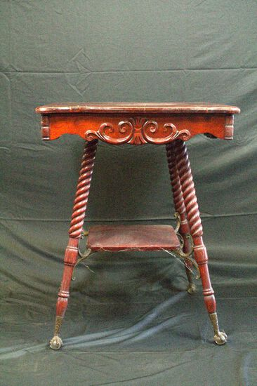 Early 20th Century Parlor Table With Spiral Legs, Ball & Claw Feet, Metal Shelf Support