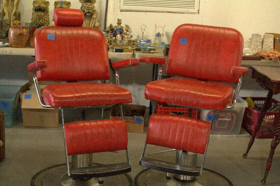 Pair of Red Leather Barber Chairs