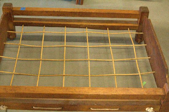 Antique Child's Trundle Rope Bed on Wooden Rollers