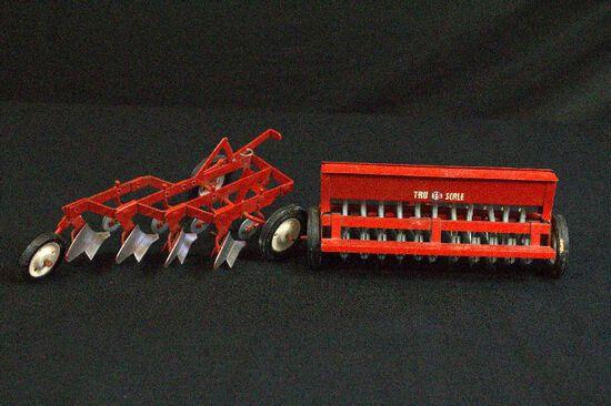2 Metal Toy Farm Equipments