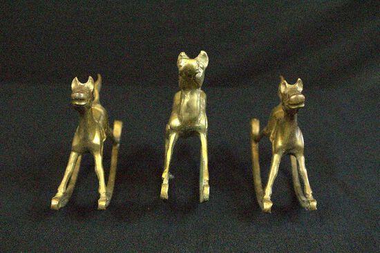 Pair of Brass Rocking Horses