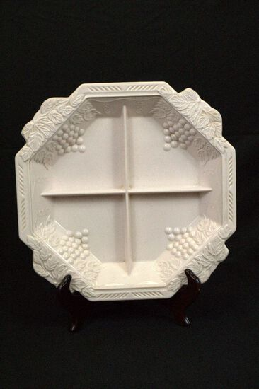 Pink Milk Glass Divided Tray