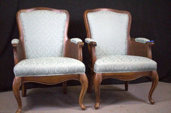 Pair of Teal Fabric Arm Chairs with Cane Inserts
