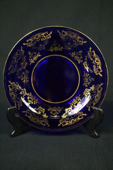 Blue Glass Plate With Gold Trim