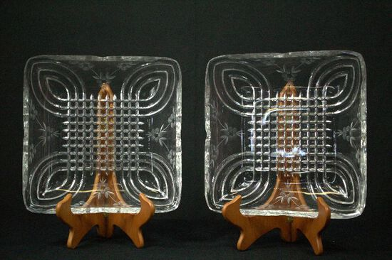 2 Pressed & Etched Glass Dishes