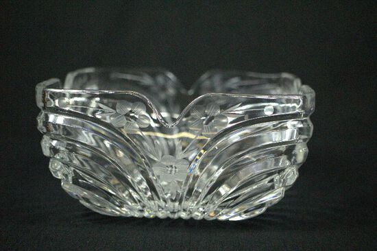 Pressed & Etched Glass Bowl