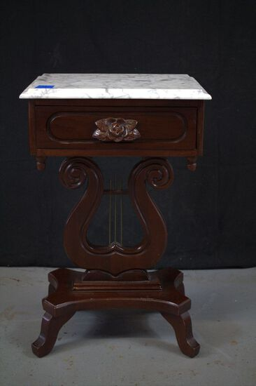 Marble Top Mahogany Reproduction Harp Table