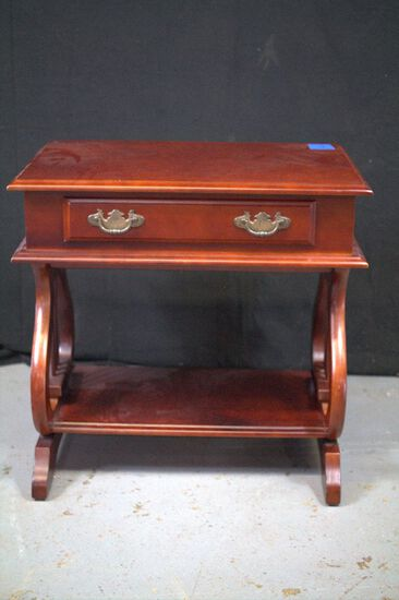Single Drawer Cherry Finish Lyre Harp Table
