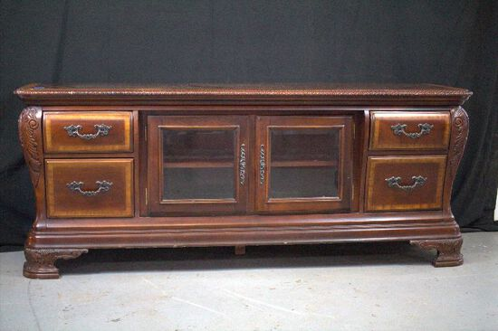 Mahogany TV Stand with Glass Doors