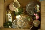 Box of Glassware, Regulator Clock, Christmas Clock