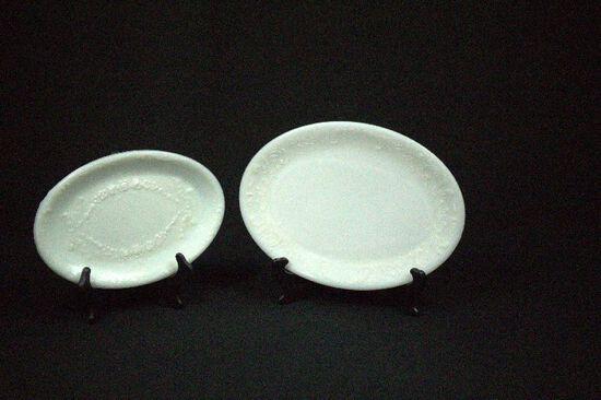 2 Victorian Milk Glass Oval Dresser Plates
