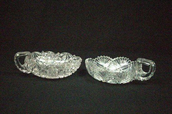 2 Cut Glass Nappys