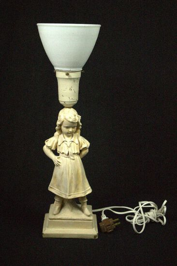 Figure Lamp With Glass Shade