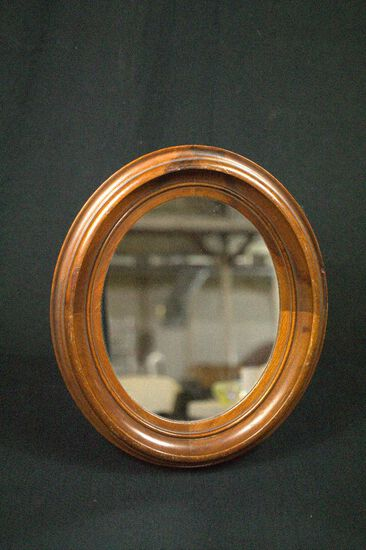 Victorian Walnut Oval Shadowbox With Mirror & Stand