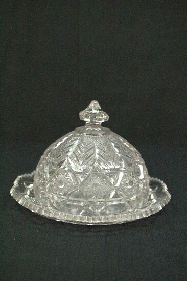 Pressed Glass Round Butter Dish