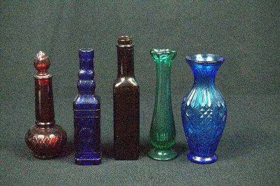 3 Bottles & 2 Vases