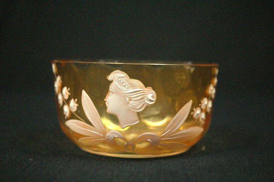 Amber Bowl With Hand Painted Design
