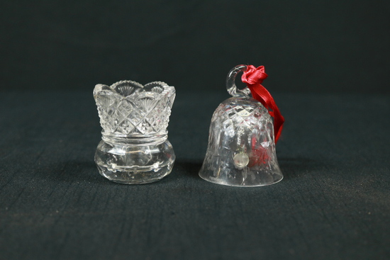 2 Pcs. Pressed Glass Toothpick Holder & Crystal Bell