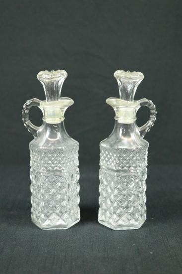 Pair of Pressed Glass Cruets