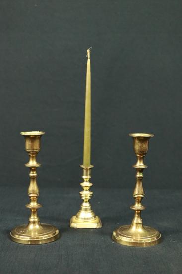 3 Brass Candlesticks