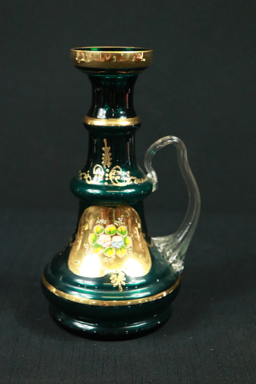 Hand Painted Handled Carafe