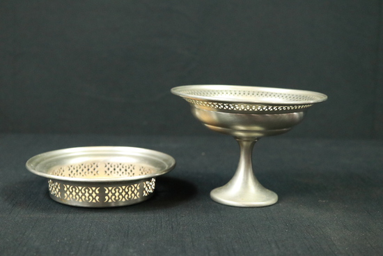 Pewter Reticulated Footed Bowl & Plate