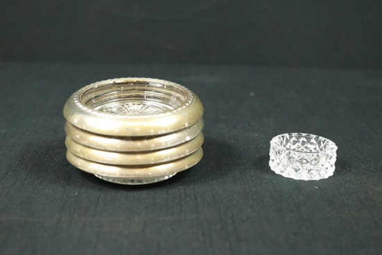1 Pressed Glass Salt & 4 Silver Plated Coasters