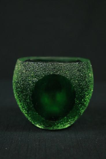 Green Art Glass Candle Holder