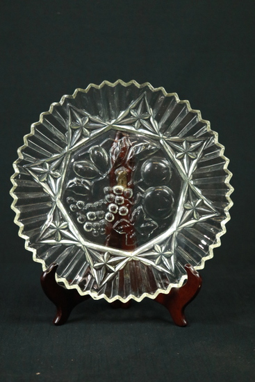 Pressed Glass Plate With Fruit Design