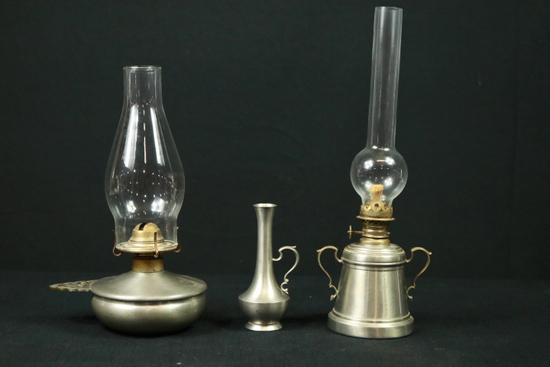 2 Pewter Oil Lamps & Pewter Vase