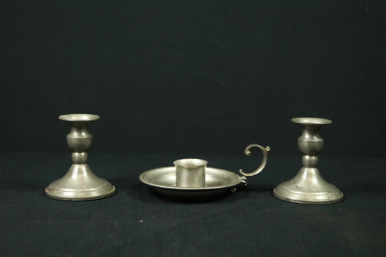 Pair of Pewter Candlesticks & Single Pewter Candlestick With Handle