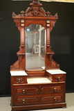Walnut East Lake Victorian Marble Top Sunken Well Dresser