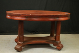 Mahogany Oval Empire Style Library Table with Drawer