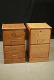 2 Oak Filing Cabinets