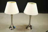 Pair of Silver Colored Lamps